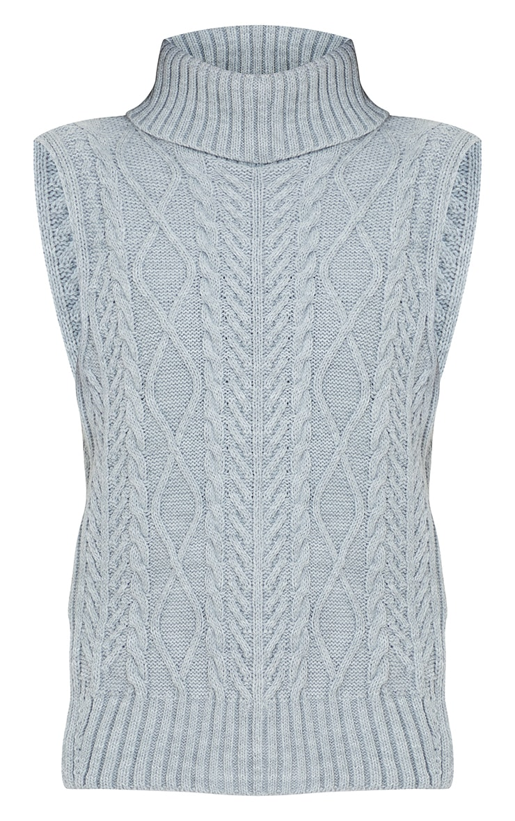 Light Grey Longline Sleeveless Cable Roll Neck Sweater  5