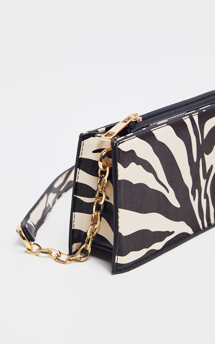 Zebra Chain Handle 90s Shoulder Bag 4