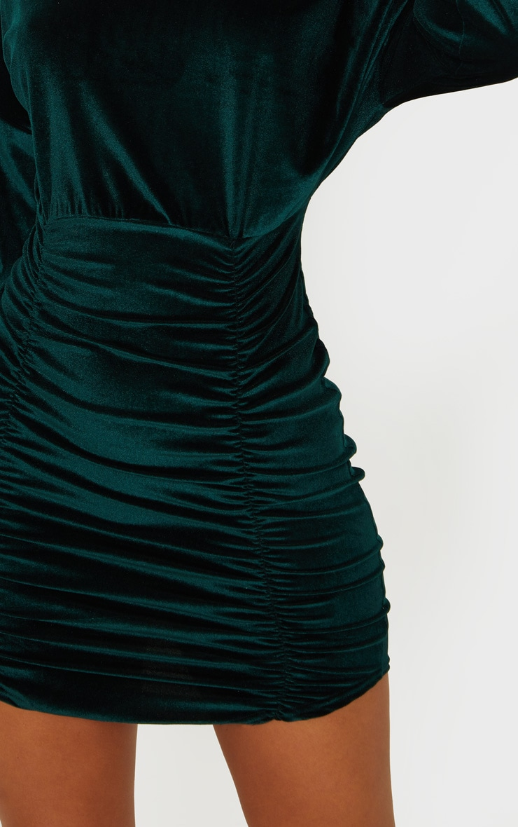 Emerald Green Velvet High Neck Long Sleeve Ruched Bodycon Dress 4