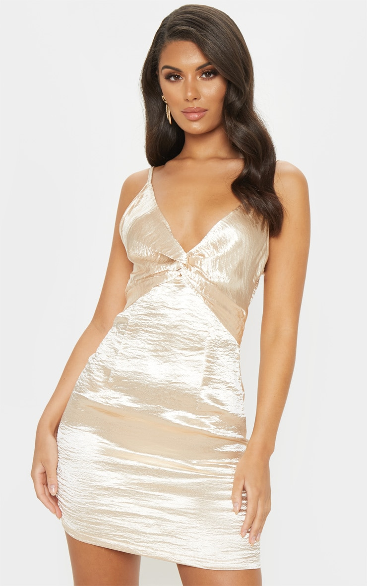 Champagne Satin Strappy Knot Detail Shift Dress 1