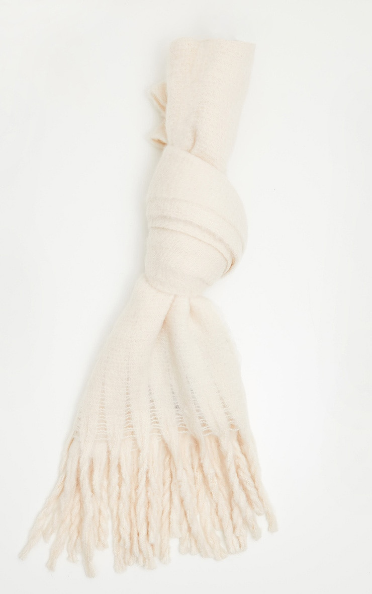 Cream Plain Oversized Scarf 2