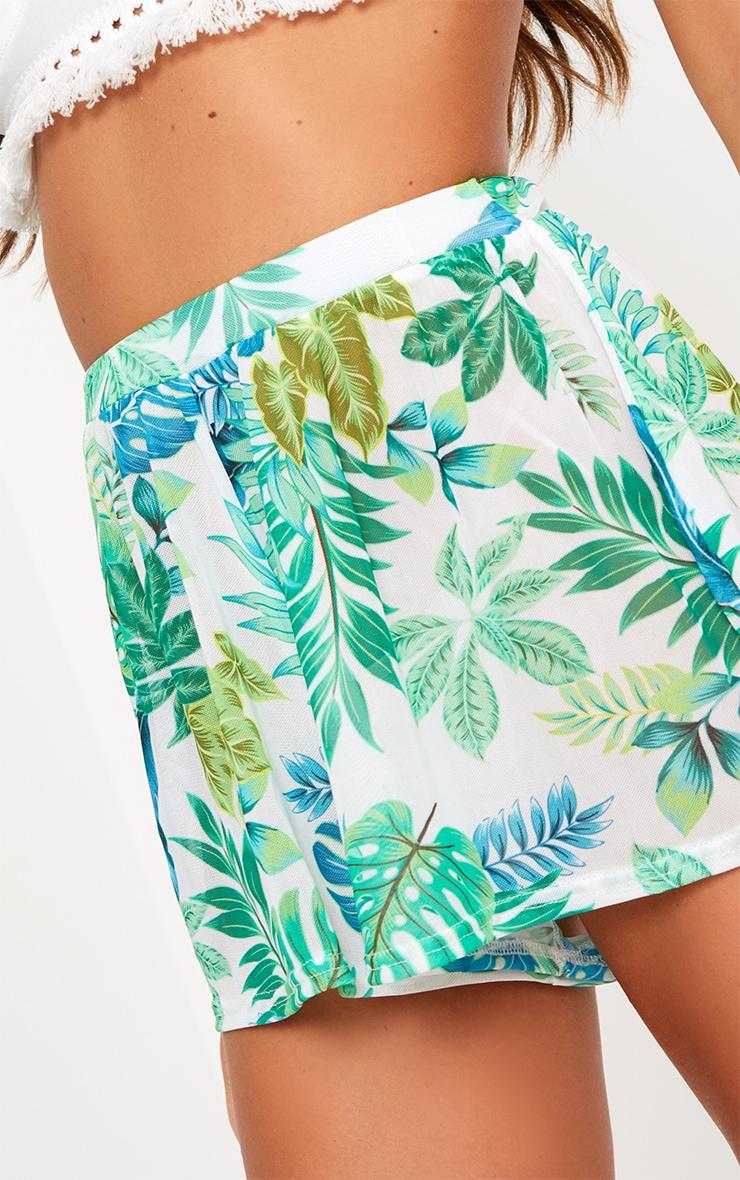White Palm Print Mesh Shorts 6
