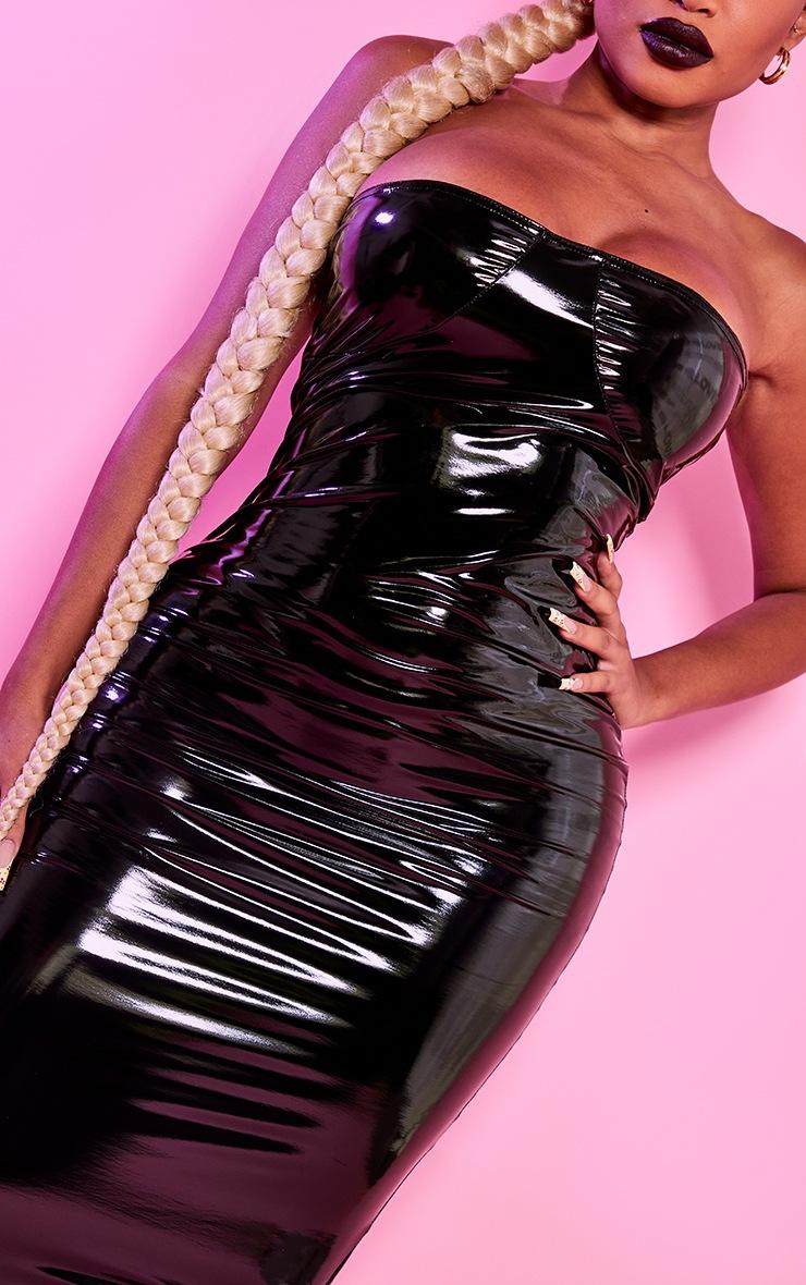 Shape Black Vinyl Cup Detail Midi Dress 5