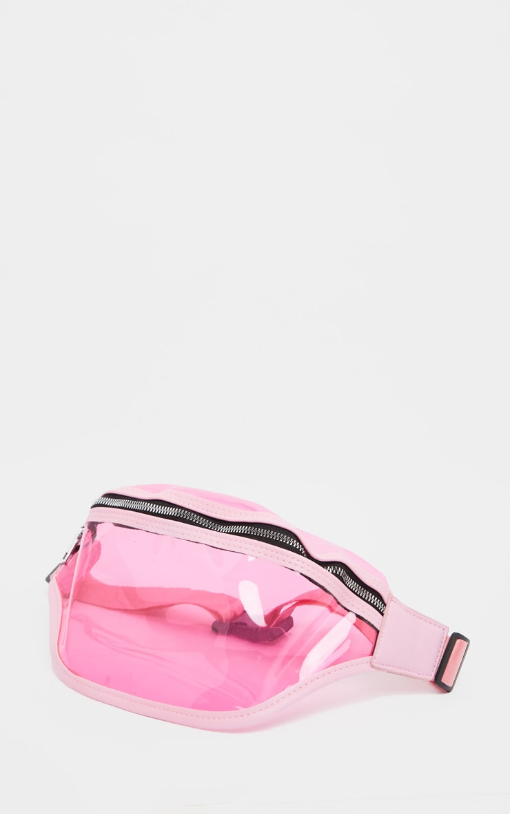 Pink Transparent Plastic Large Bum Bag 2