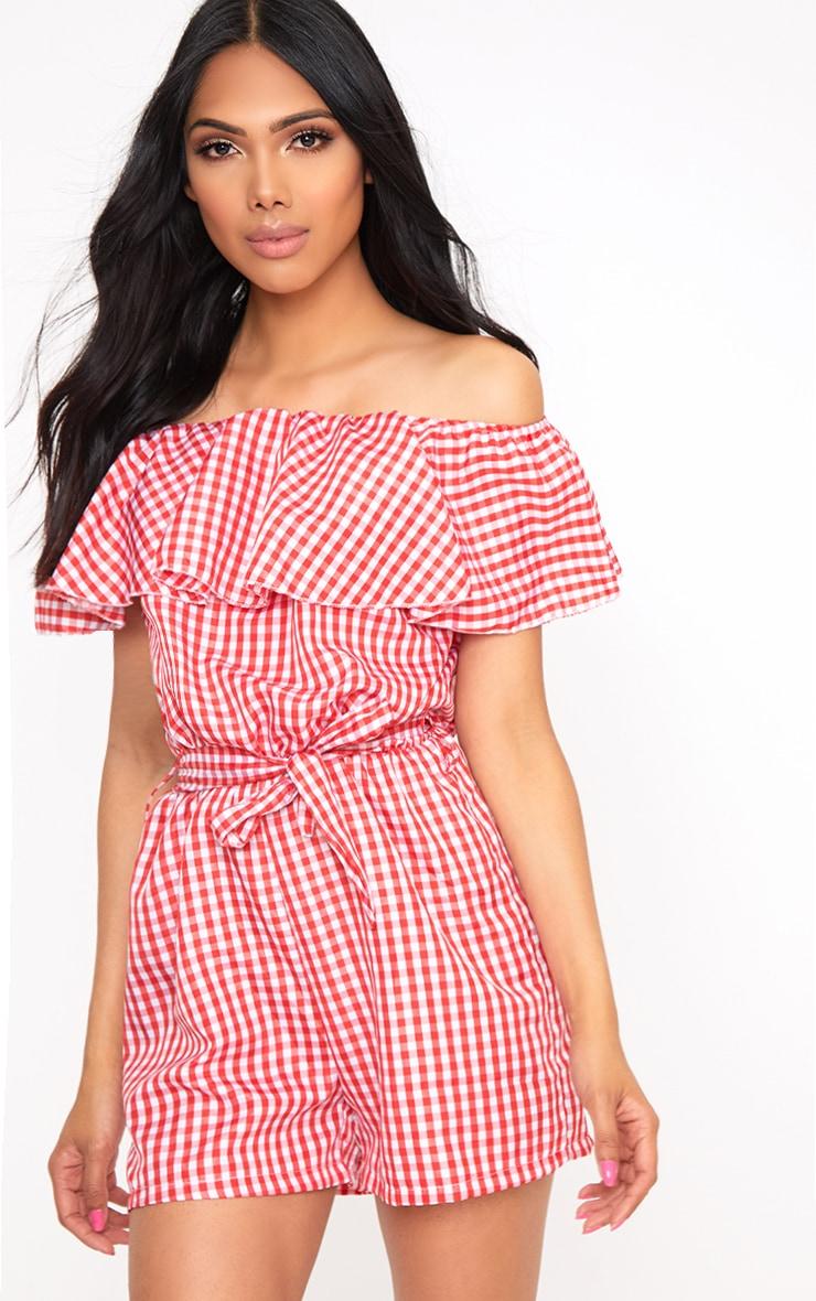 Red Gingham Bardot Shirt Playsuit 1