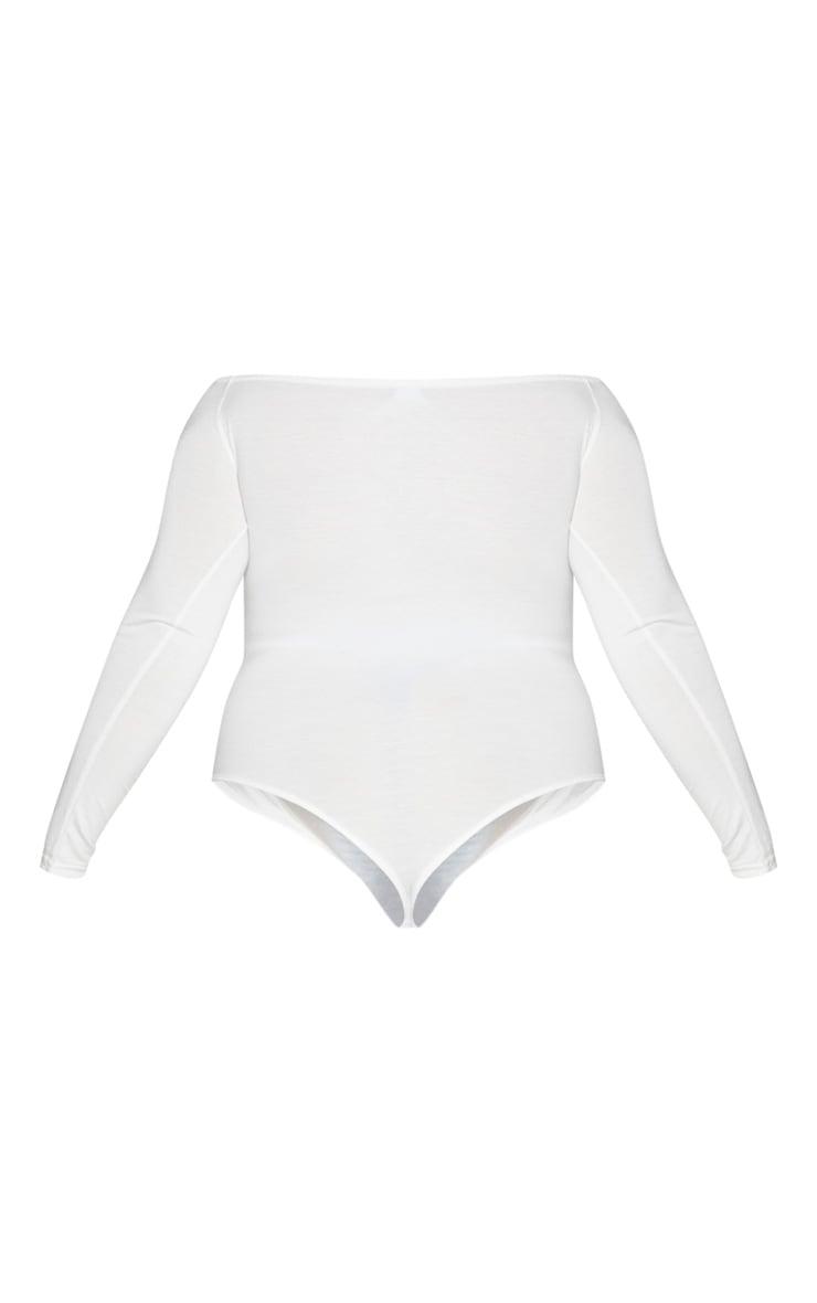 Plus Basic Cream Bardot Bodysuit 6