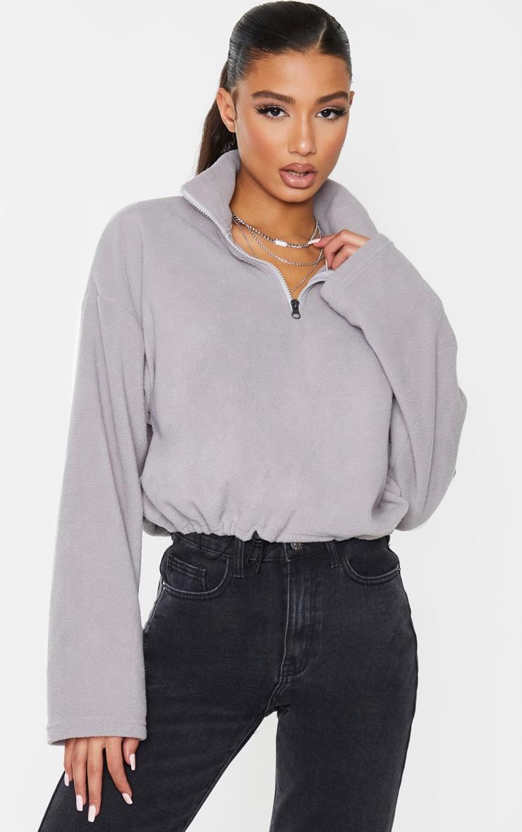 Charcoal Grey Zip Front Crop Fleece Sweater 1
