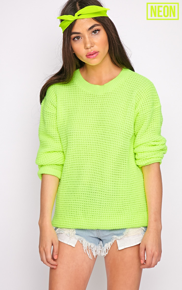Chloe Lime Neon Knit Jumper 1