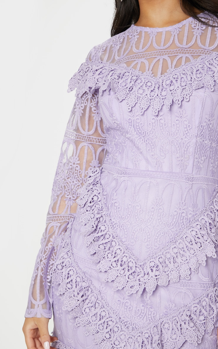 Lilac Lace Frill Detail Long Sleeve Bodycon Dress 5