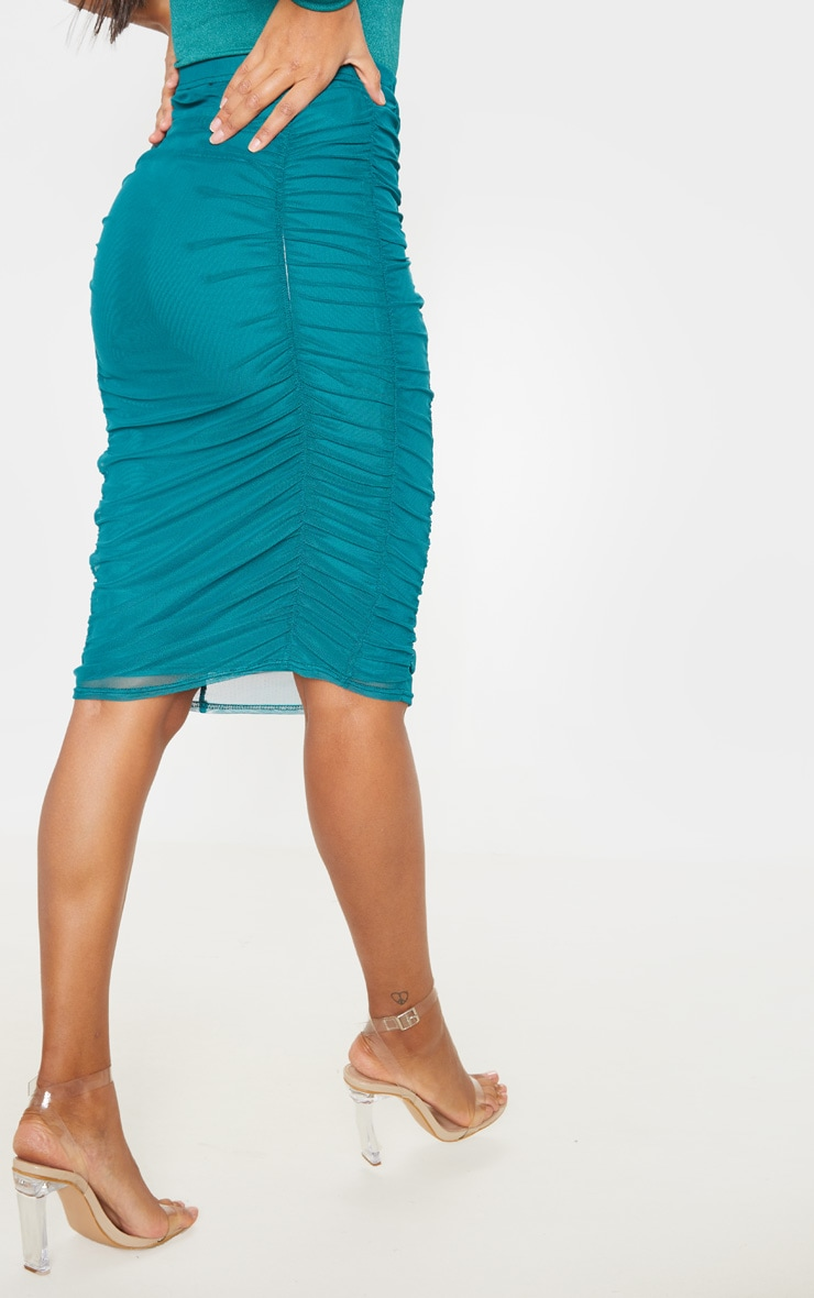 Emerald Green Second Skin Ruched Mesh Midi Skirt 4