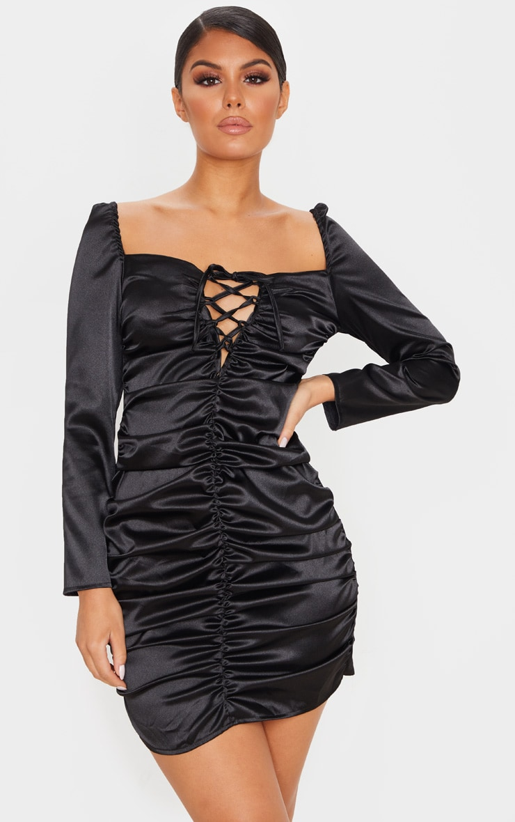 Black Satin Ruched Lace Up Detail Bodycon Dress 4