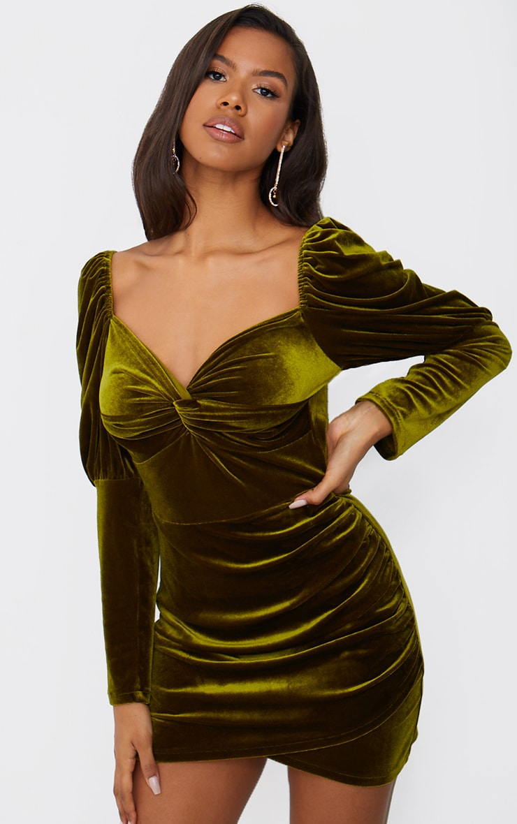 Olive Velvet Puff Sleeve Twist Detail Bodycon Dress 1