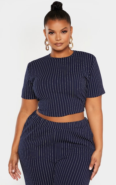 Plus Navy Pinstriped High Neck Crop Top