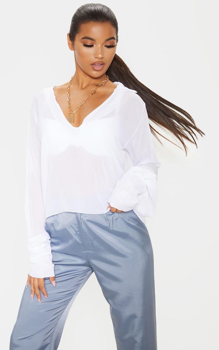 White Sheer Bell Sleeve Blouse  1