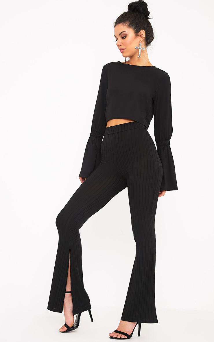 Soreya Black Ribbed Inside Split Wide Leg Trousers  1