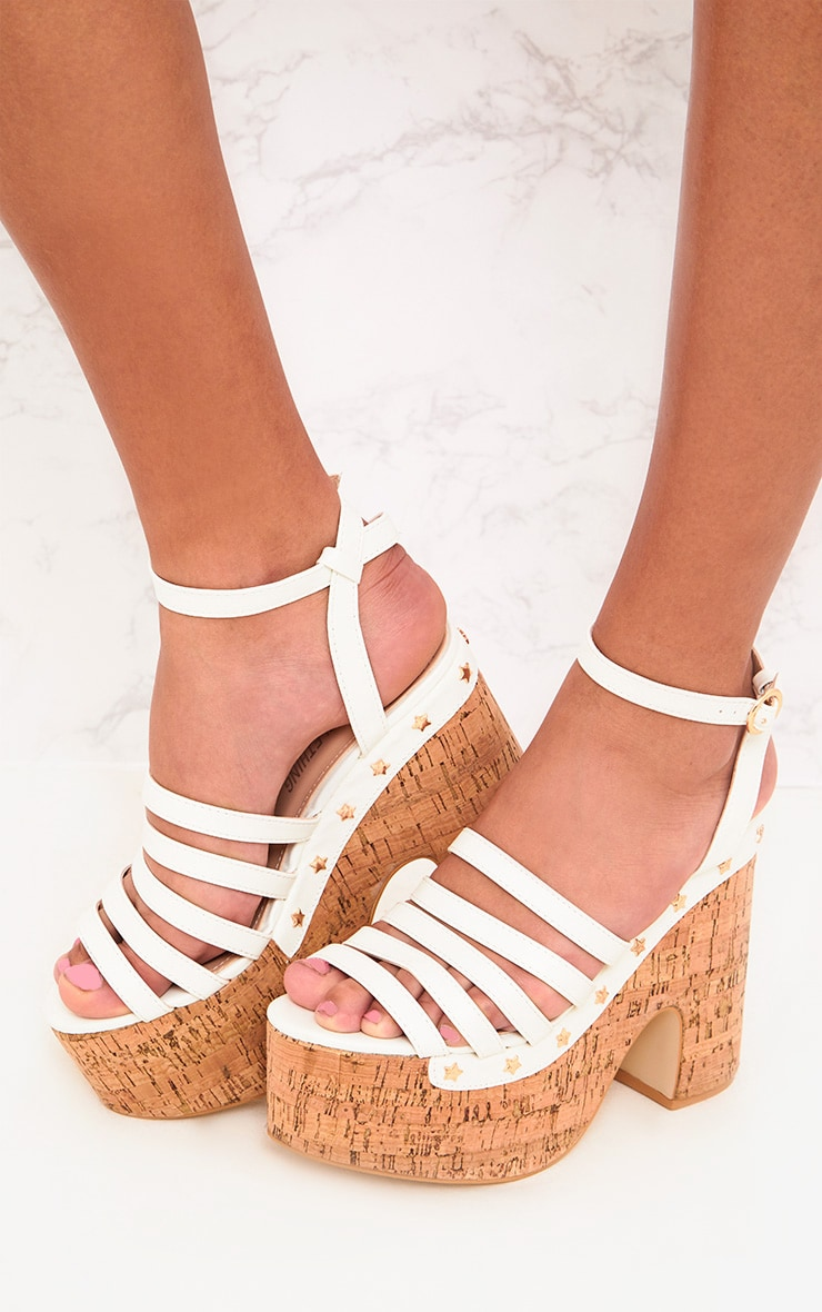 White Chunky Platform Sandals  2