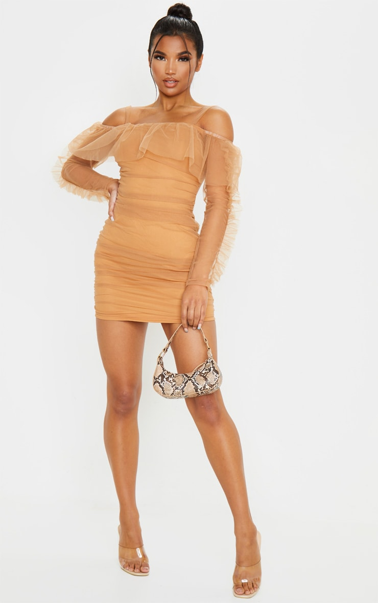 Nude Organza Ruched Bardot Frill Bodycon Dress 3