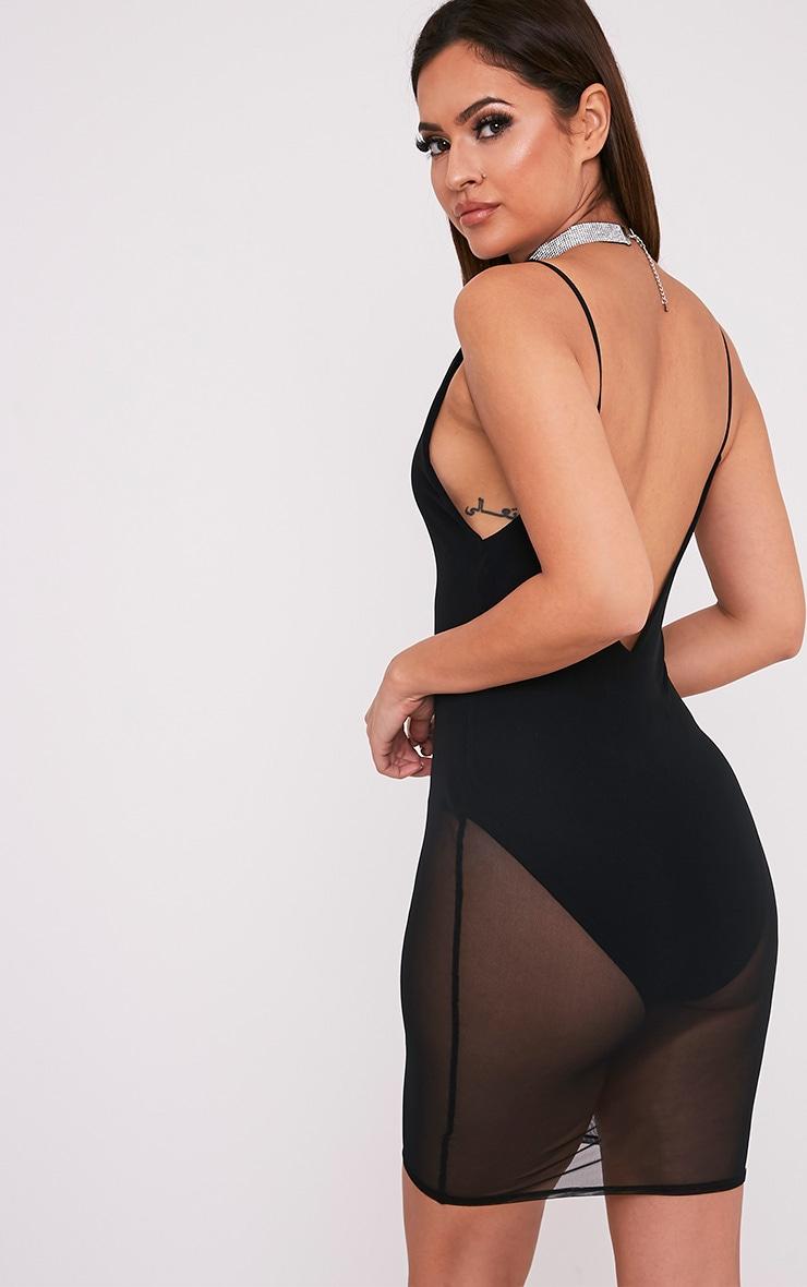Kyiah robe moulante à superposition en tulle noire 5