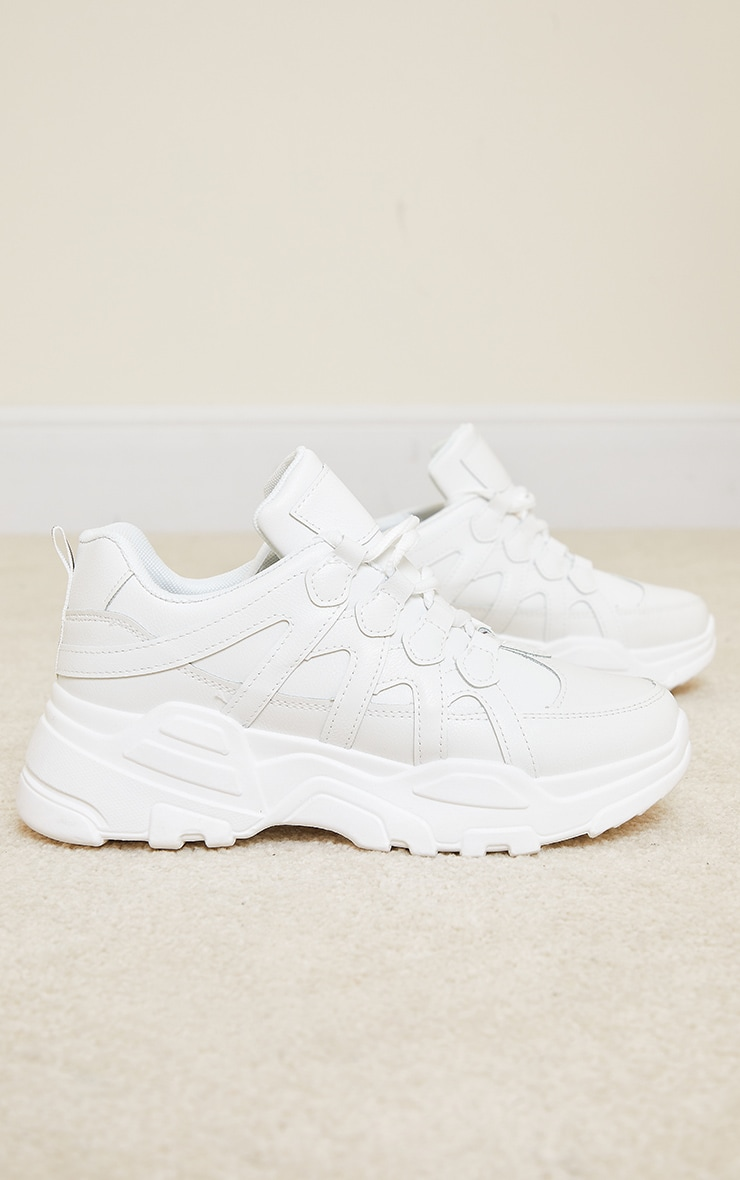 White Chunky Panel Detail Sole PU Sneakers 3