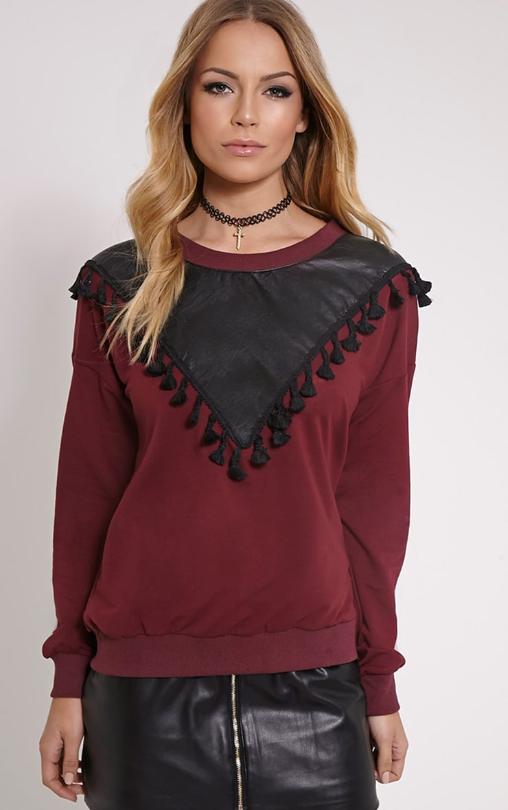 Sofie Burgundy Faux Leather Tassel Detail Jumper 1