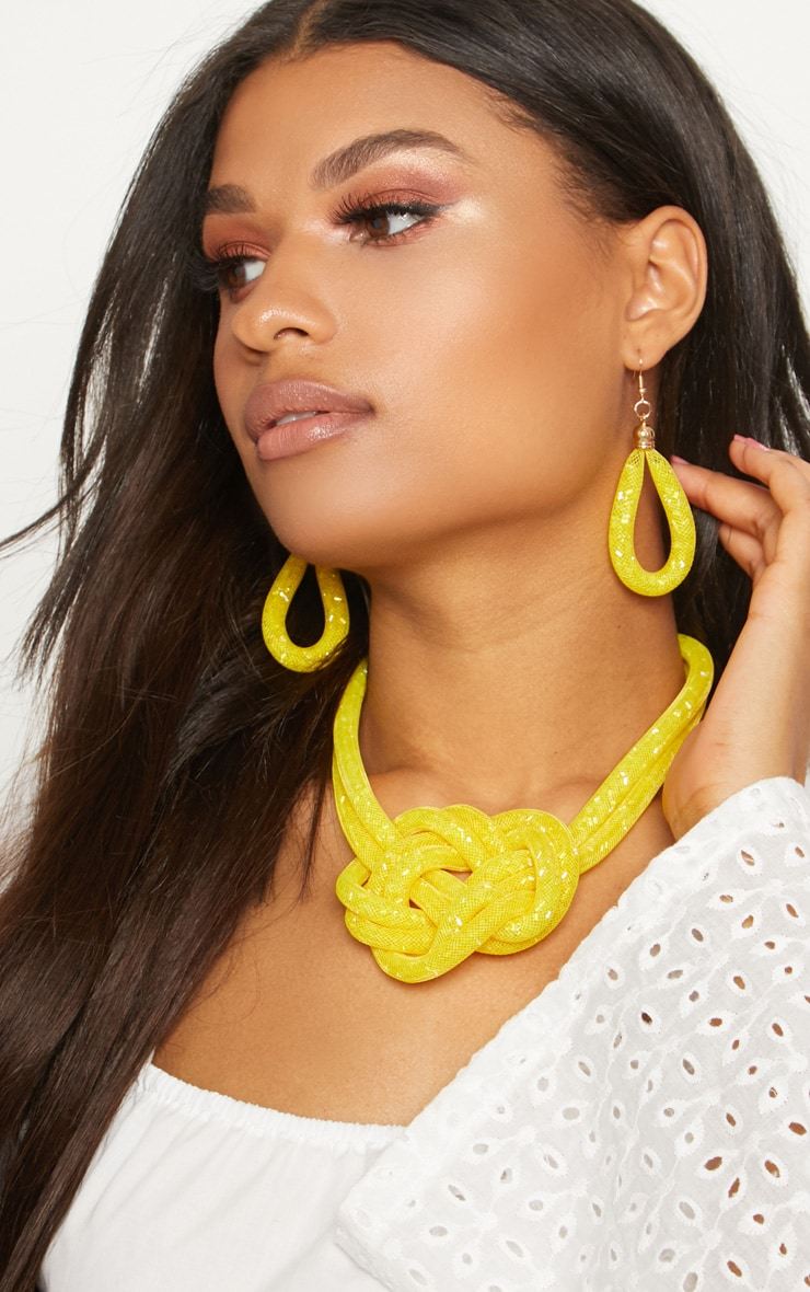 Yellow Bead Knot Necklace 2
