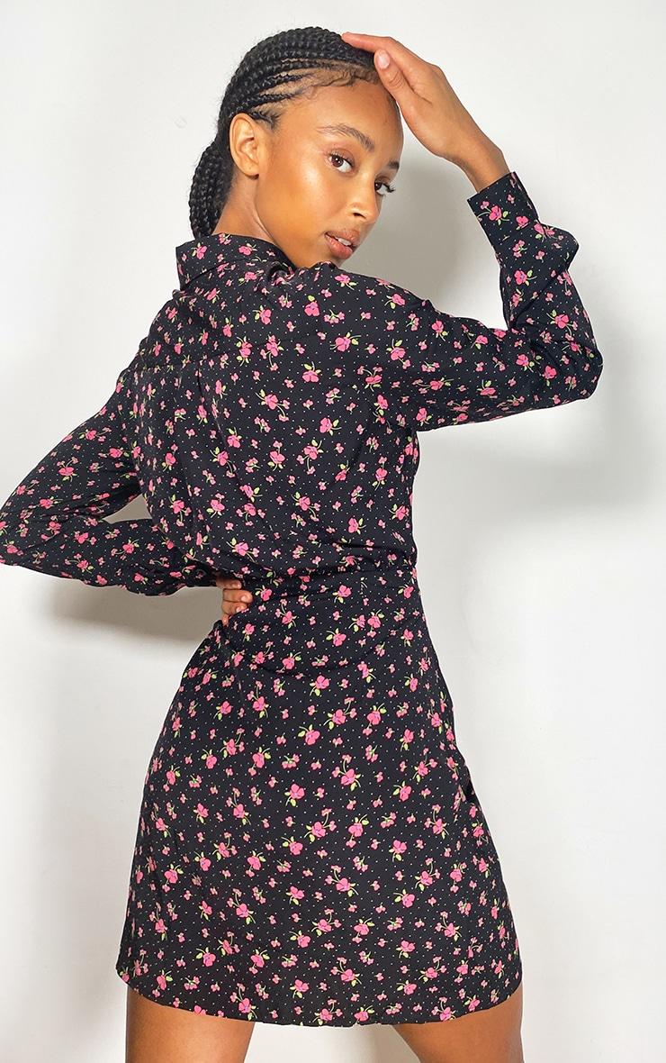 Black Floral Print Button Up Ruched Shirt Dress 2
