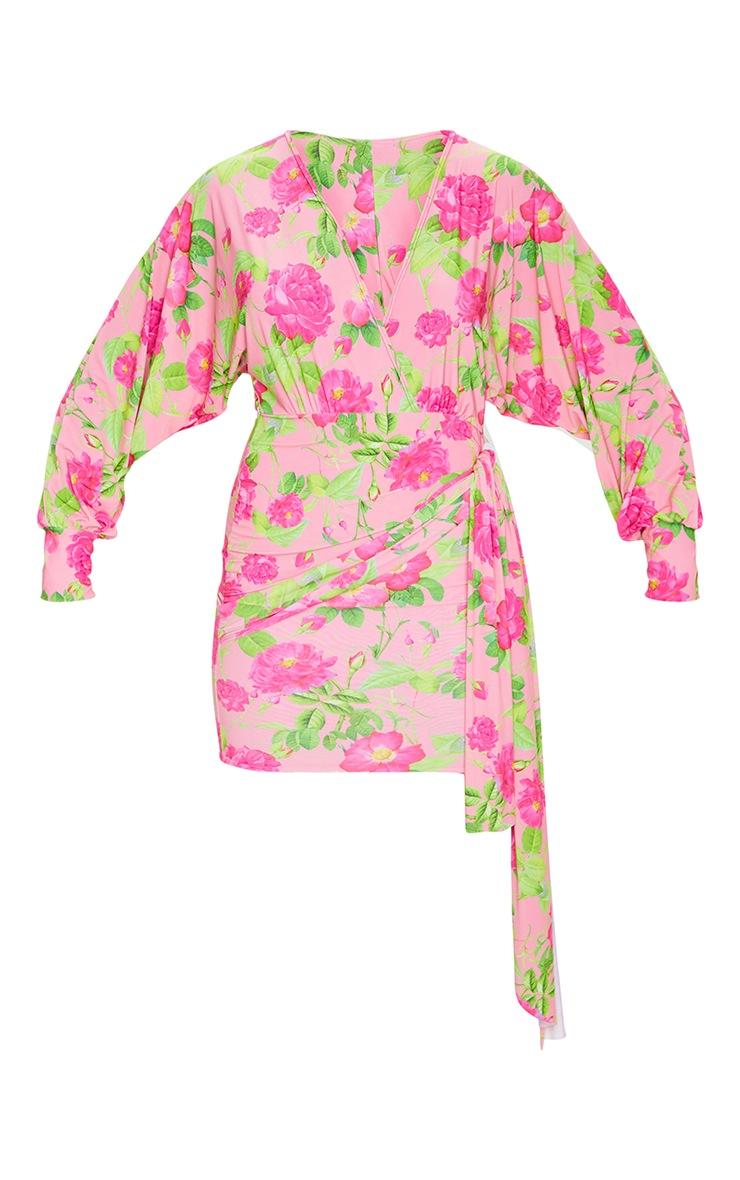 Peach Floral Slinky Plunge Drape Bodycon Dress 5