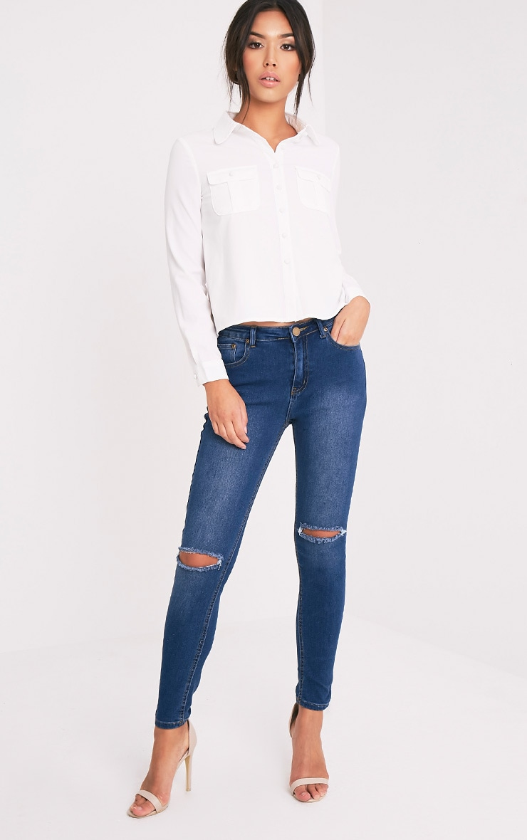 Loulou Cream Crop Long Sleeve Shirt 5