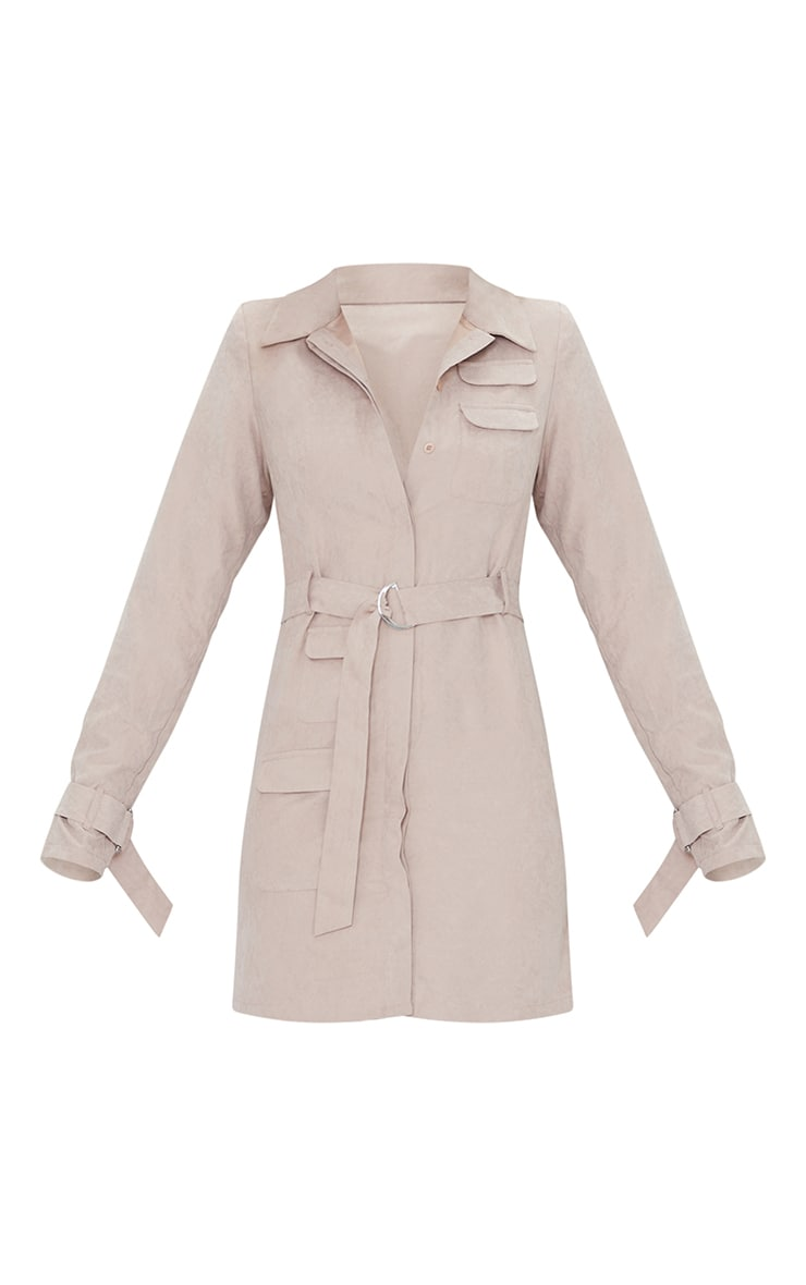 Grey Peach Skin Buckle Tie Detail Bodycon Dress 5