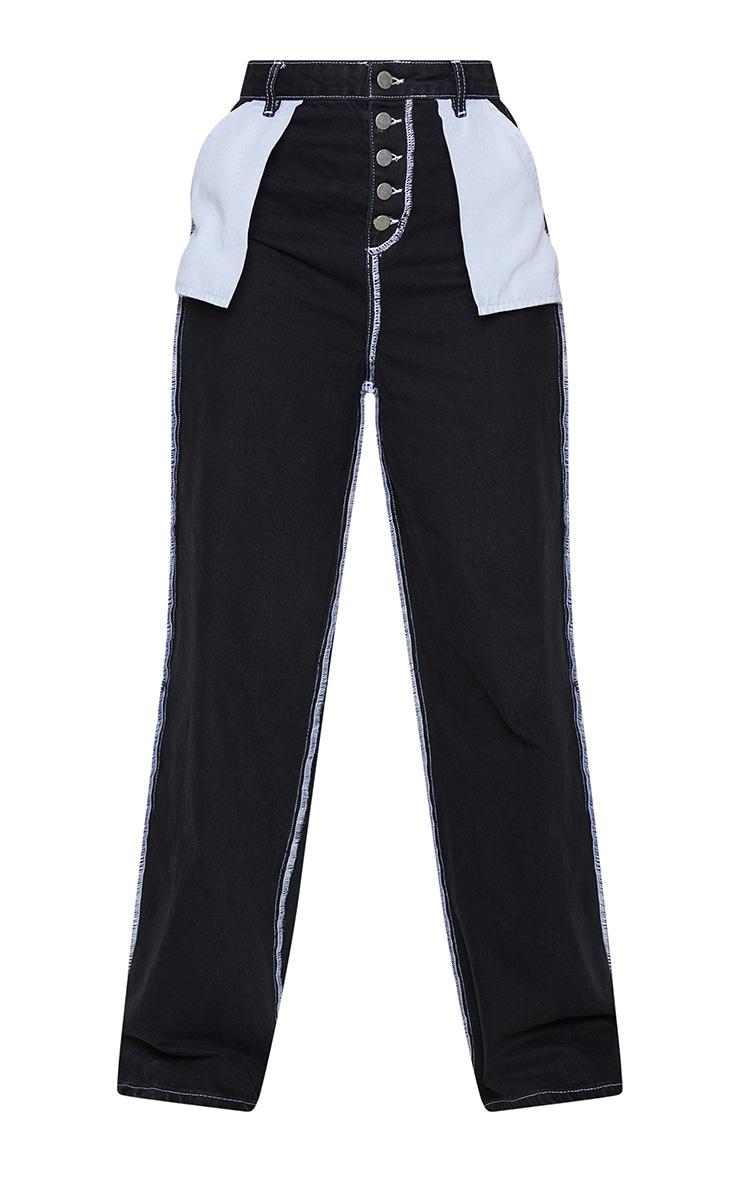 Black Wide Leg Denim Jeans 5