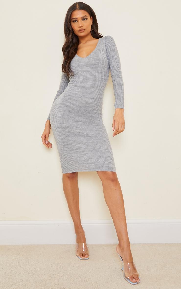 Grey V Neck Knitted Midi Dress 1