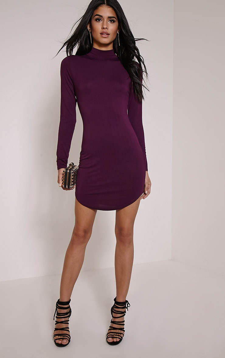 Alby Plum Curve Hem High Neck Dress 4
