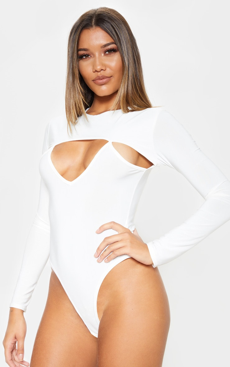 White Slinky Cut Out Long Sleeve Thong Bodysuit  2