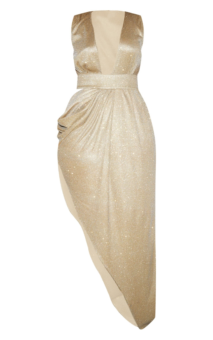Plus Gold Glitter Asymmetric Cut Out Maxi Dress 5