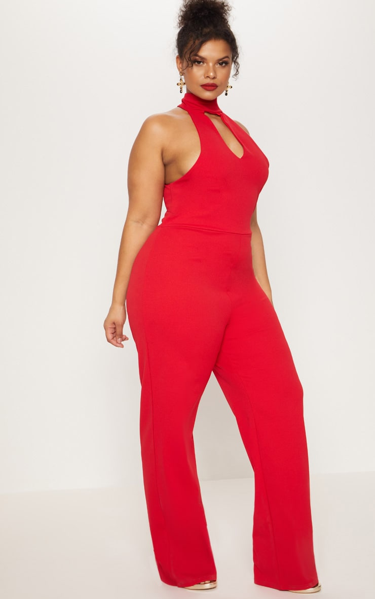 Plus Red Cut Out Wide Leg Jumpsuit 3