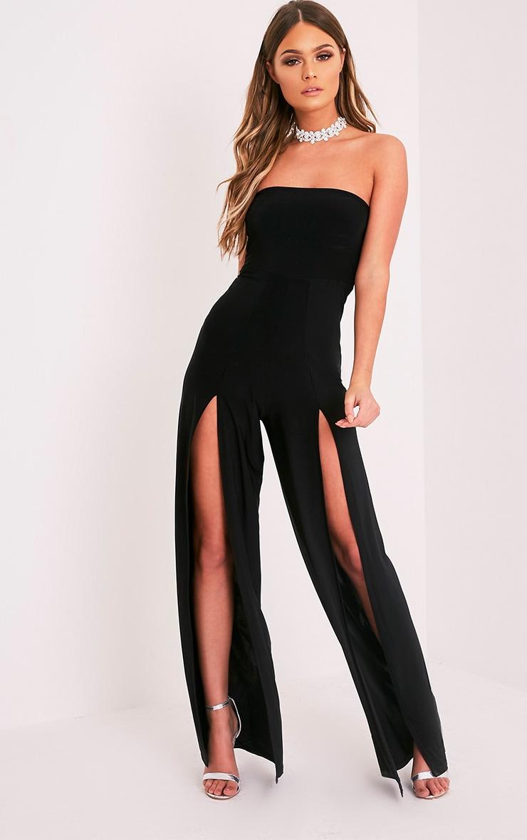 Tori Black Front Thigh High Split Slinky Bandeau Jumpsuit 4