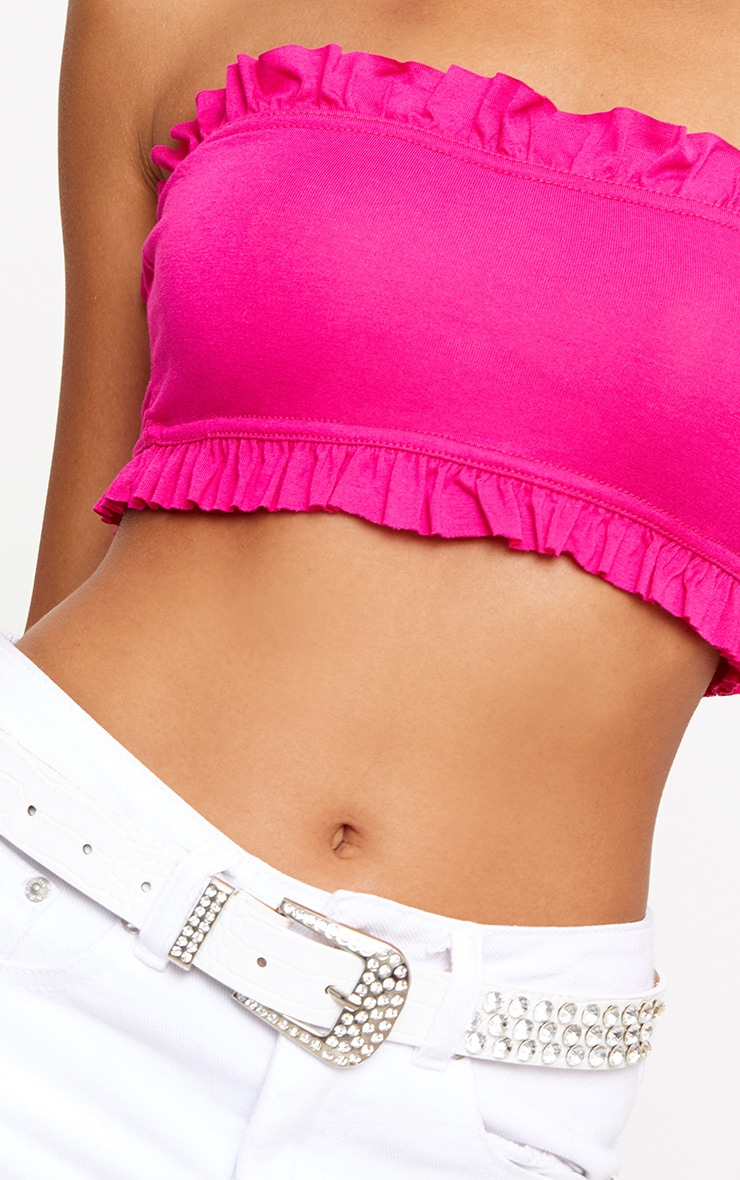 Hot Pink Jersey Bandeau Frill Crop Top 5
