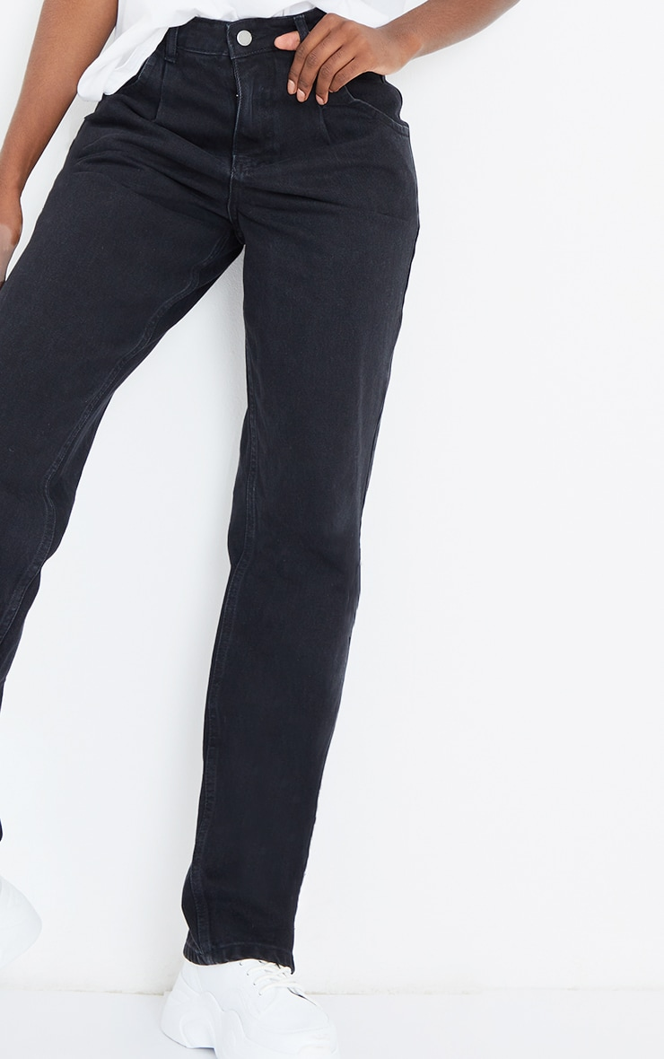 Tall Washed Black Seam Detail Wide Leg Jeans 4