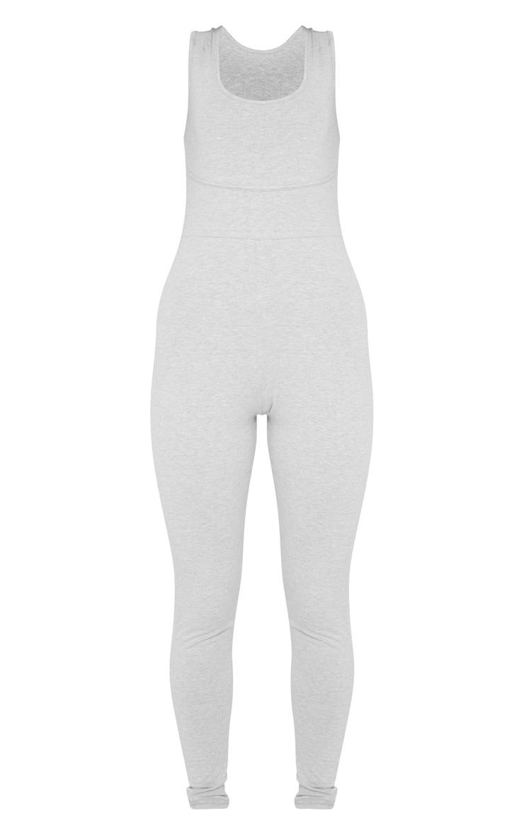 Combinaison grise à encolure ronde et détails coutures 3