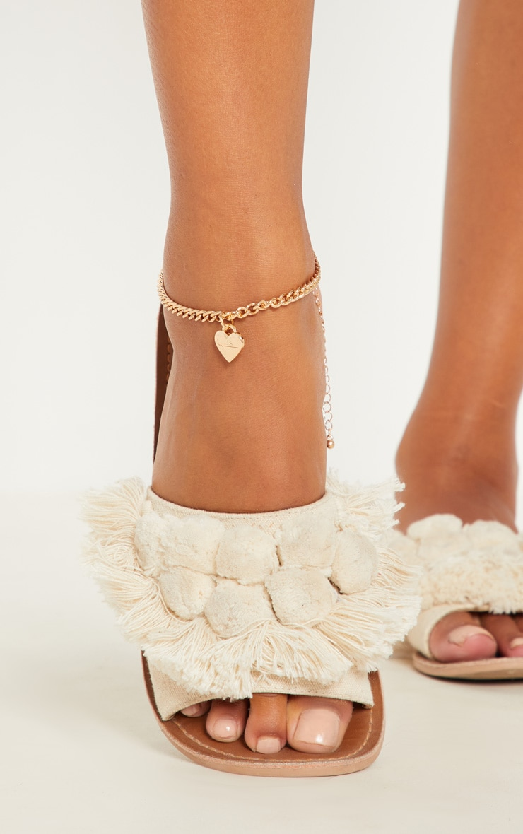 Gold Script Love Heart Anklet 1