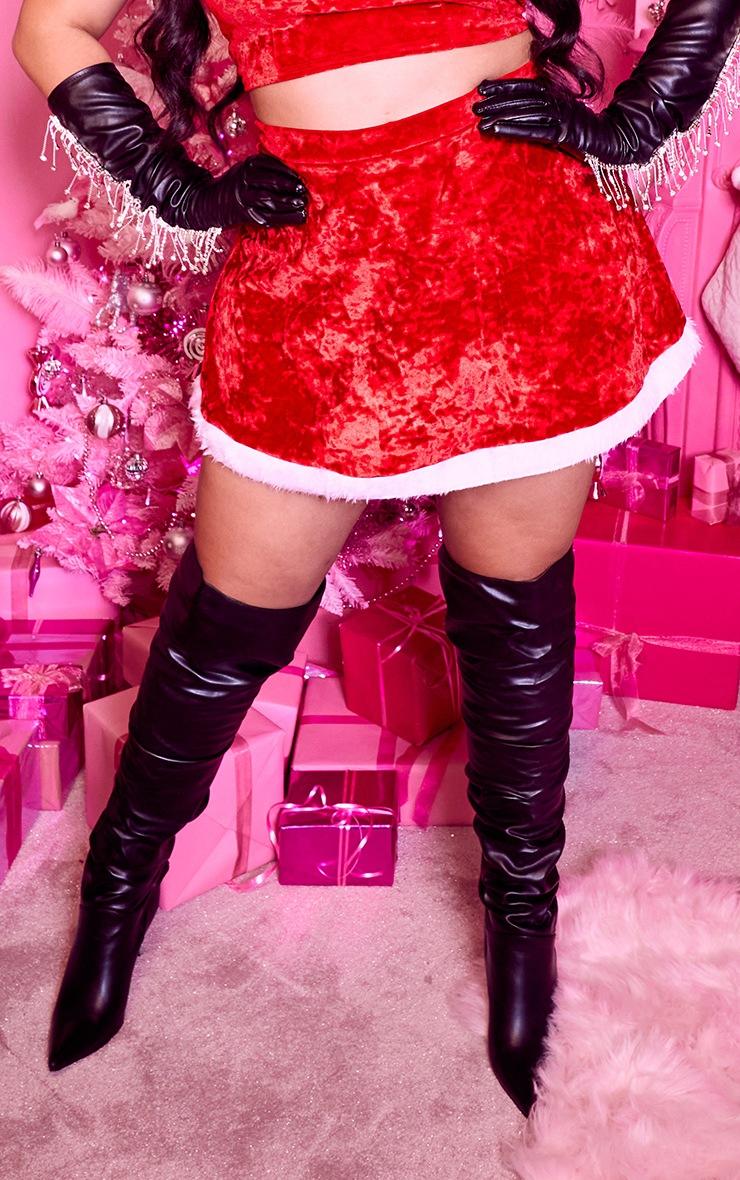 Plus Red Fur Mini Hem Velvet Skirt With Panties 2