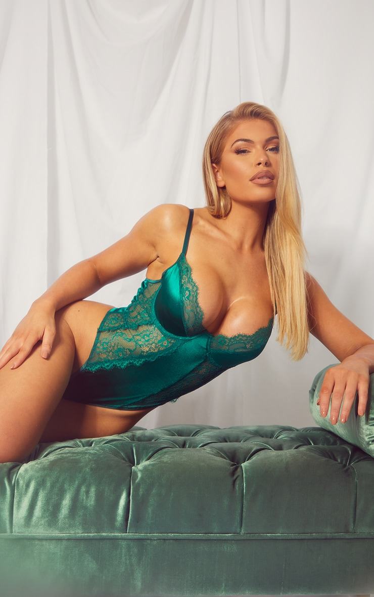 Emerald Green Lace Panel Satin Underwired Body 1