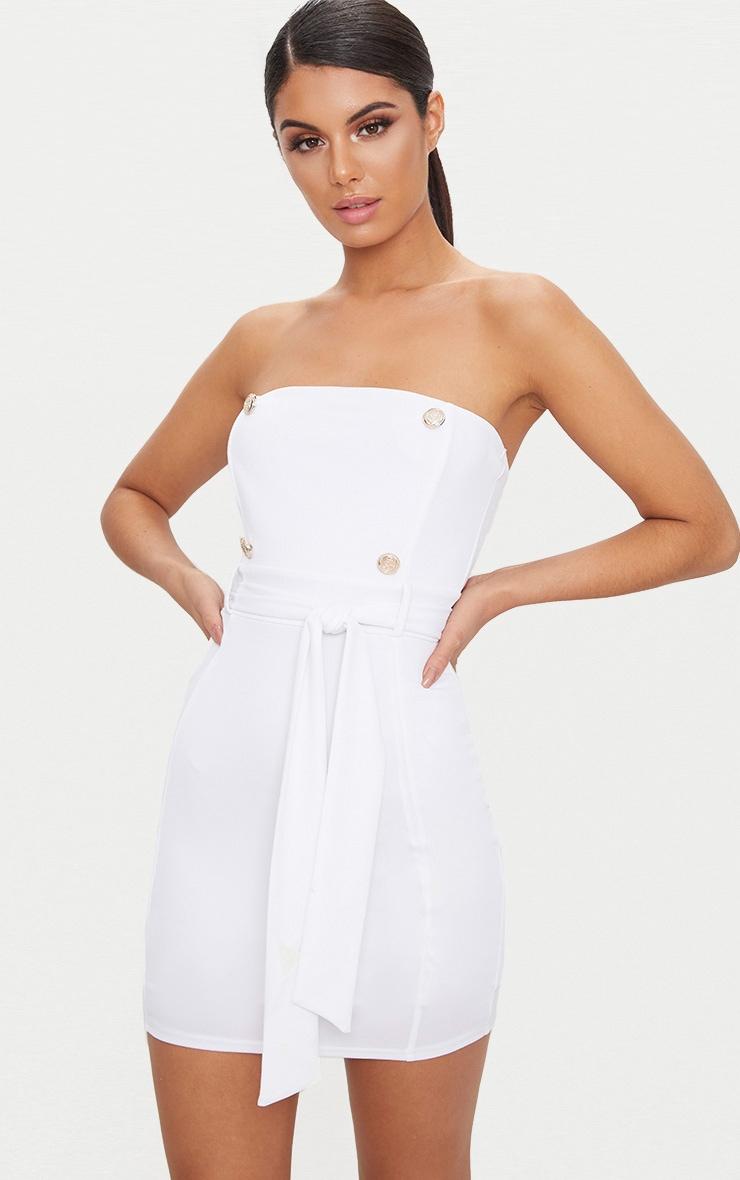 White Bandeau Button Detail Tux Tie Waist Bodycon Dress 1