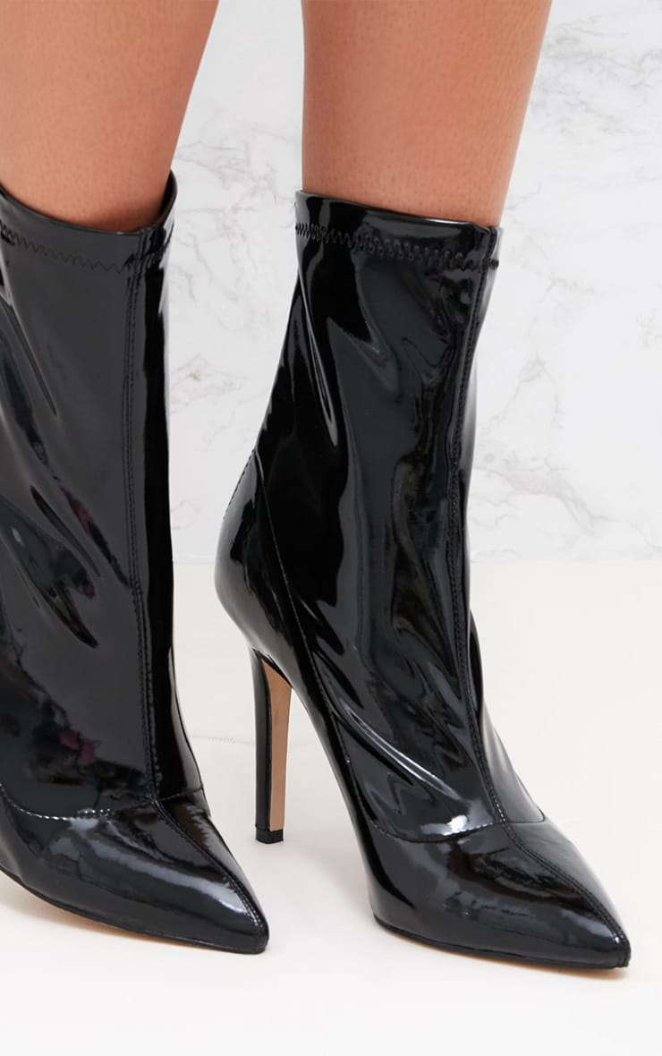 Black Vinyl Pointed Ankle Boots 5