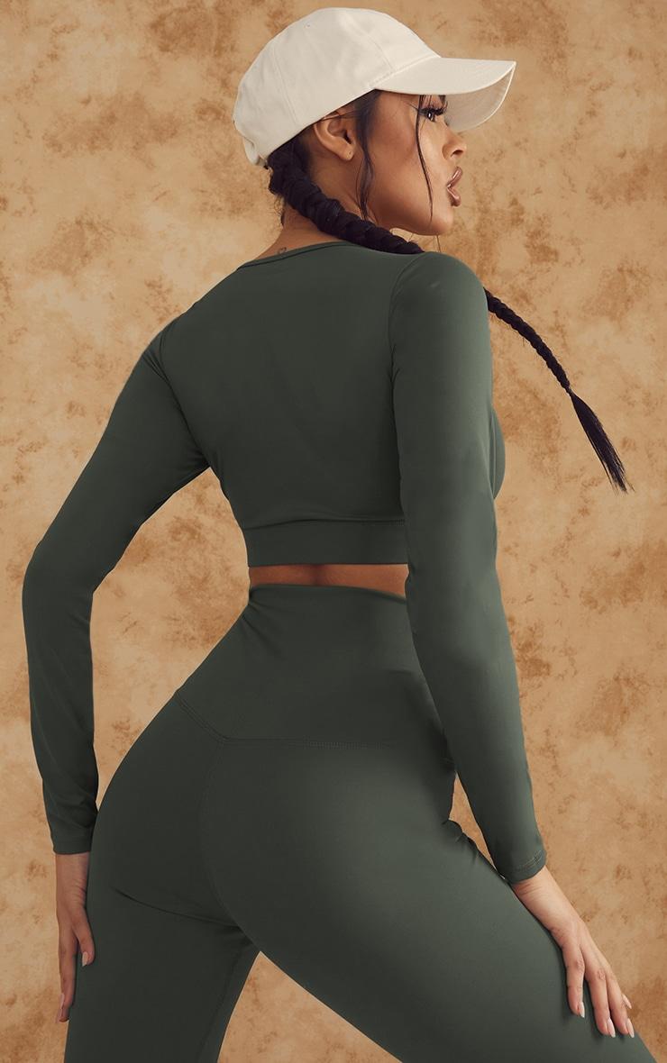 Khaki Sculpt Luxe Long Sleeve Sports Top 2