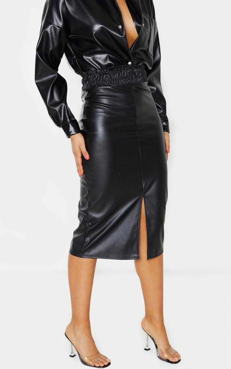 Tall Black Ruched Waist PU Midi Skirt 2