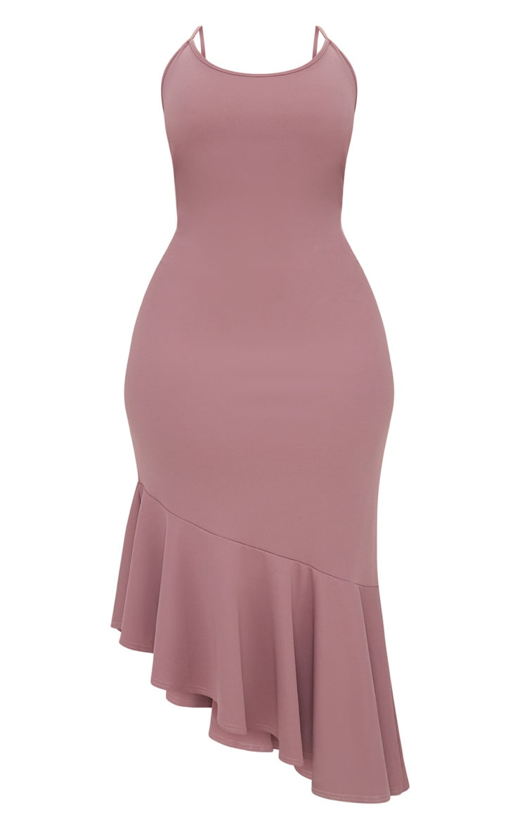 Plus Mauve Strappy Asymmetric Hem Midi Dress 3
