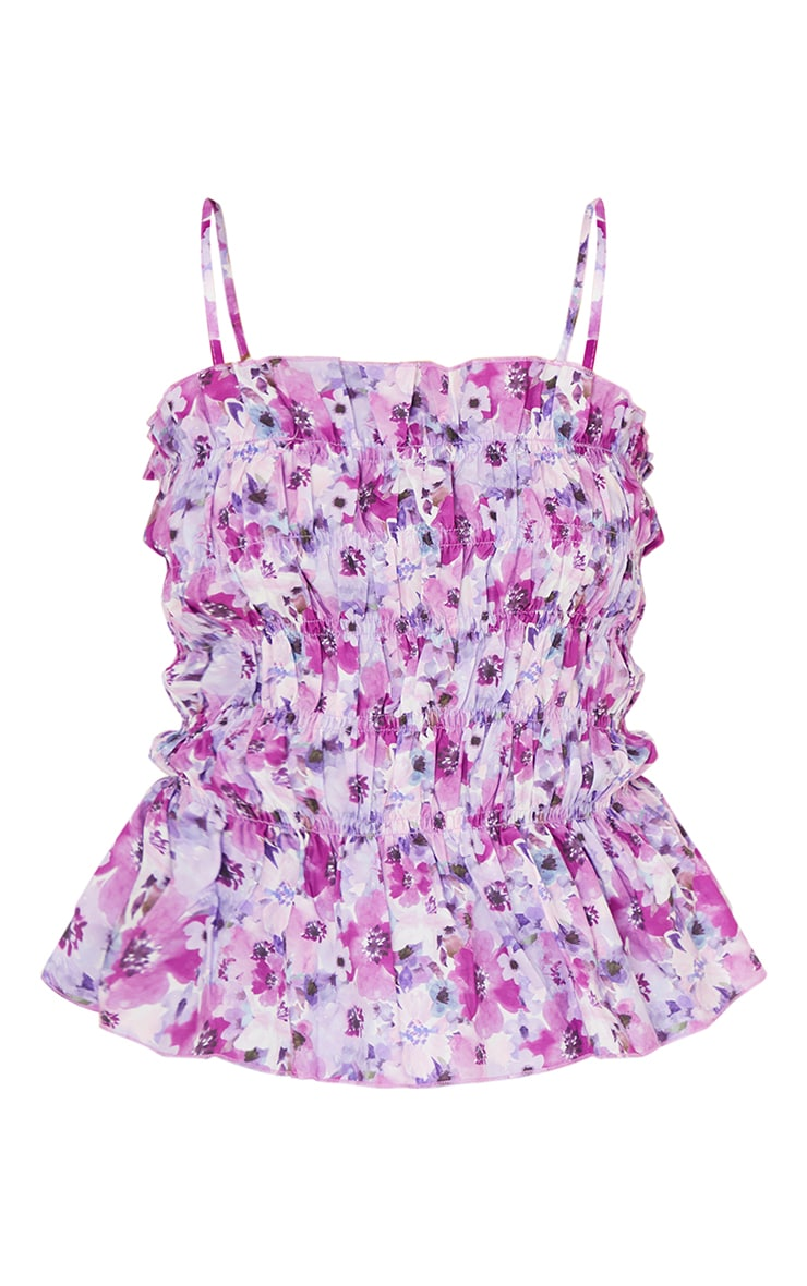 Lilac Floral Print Ruched Front Strappy Cami 5