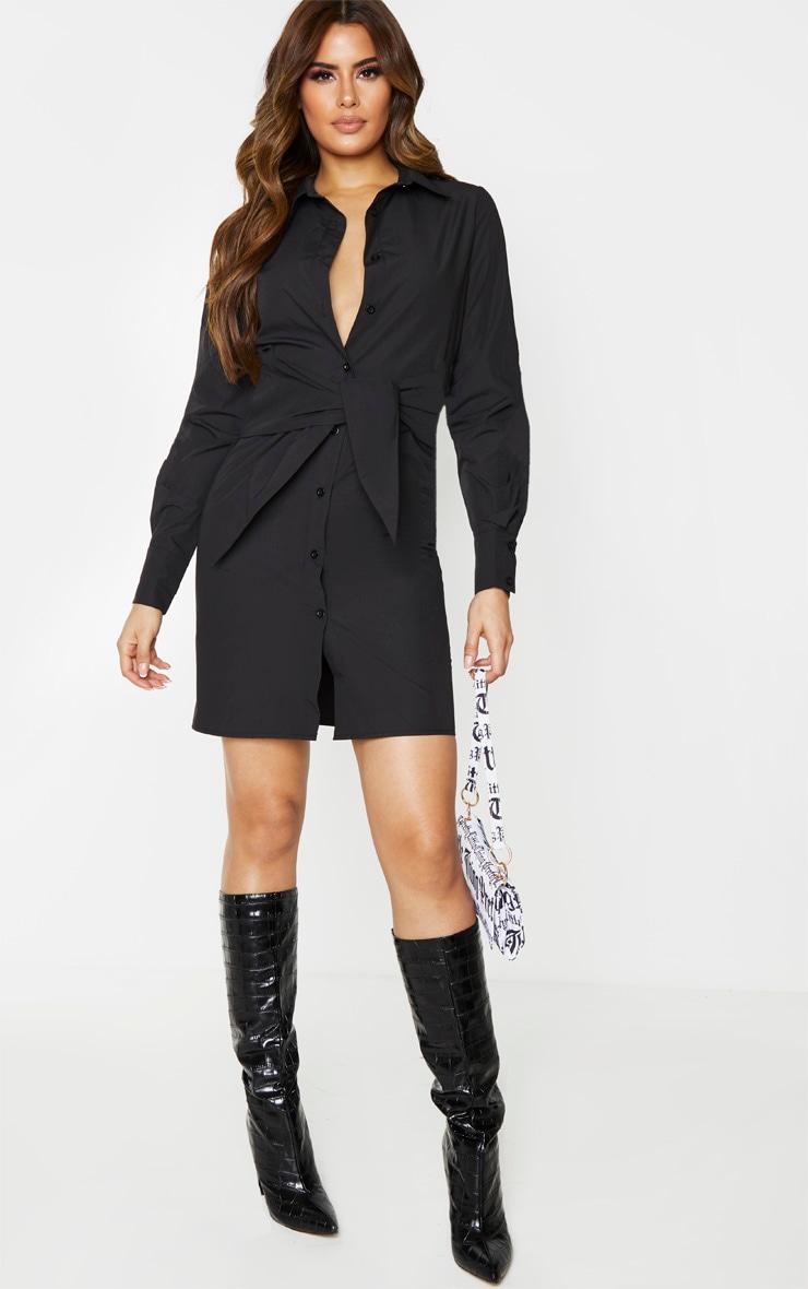 Tall Black Wrap Detail Shirt Dress 3