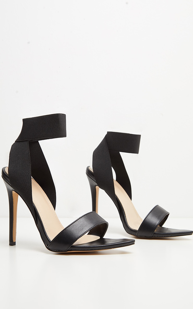 Black Elastic Point Toe Strappy Sandal 3
